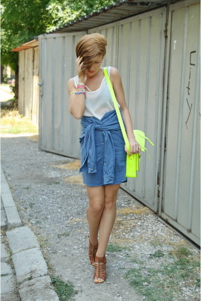 light brown Bershka shoes - blue worn as skirt American Apparel shirt - yellow T