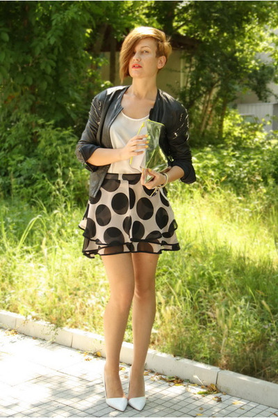 black amen jacket - white Zara shoes - silver H&M bag - black asos shorts