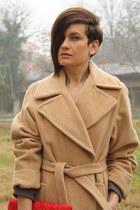 brown Mango dress - camel vintage coat - red H&M bag