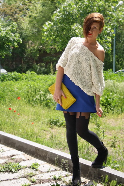 blue Zara skirt - yellow H&M bag - white American Apparel blouse