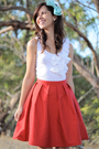 Red-krista-hochwallner-skirt-white-kookai-top-blue-accessories
