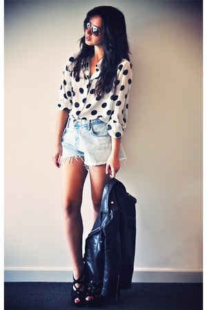white polka dot shirt - black leather Viparo jacket - periwinkle denim shorts