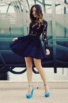 sky blue platform tony bianco wedges - black lace stylestalker dress