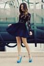 Black-lace-stylestalker-dress-sky-blue-platform-tony-bianco-wedges