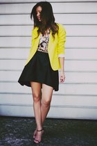 yellow H&M blazer - light pink floral MinkPink shirt - black FADDOUL skirt