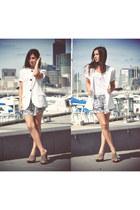 white thrifted vintage blazer - navy MIISHKA shorts