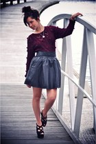 black leather Viparo skirt - black platforms wedges - maroon pom pom jumper