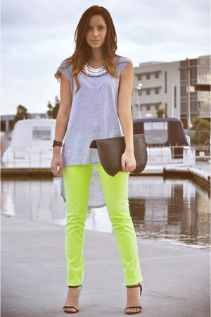 black bvlgari watch - lime green neon AG jeans - black graine bag