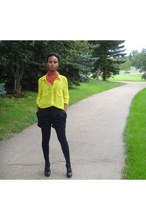dark gray cotton Zara shorts - lime green Forever 21 blouse