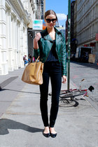 teal Newlook jacket - black Stradivarius jeans - navy Bershka shirt