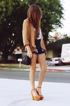 camel blazer - dark brown bag - navy shorts - white top - camel heels
