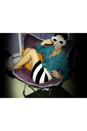 black Black & white striped skirt - teal jean jacket - white Dice sunglasses