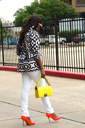 dark gray fromcheaptochik blouse - white J Brand jeans - yellow Chanel bag