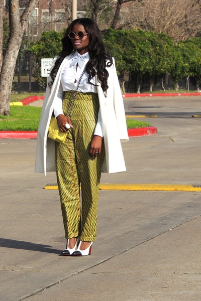 white Zara coat - white DKNY shirt - light yellow Chanel bag