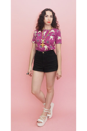purple 90s vintage t-shirt - black high waist American Apparel shorts