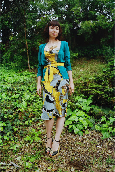 yellow Veronica M dress - green H&M cardigan - yellow Eve Gravel belt - black Fo