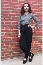 black harem 80s Vintage pants - black oversized Funky Fondled and Fresh ring