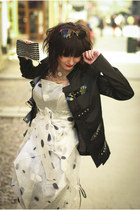 black Cernei jacket - silver origami folds Cernei dress