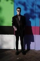 black vintage blazer - gray American Apparel shirt - black H&M pants - black For