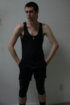 American Apparel top - customized vintage shirt - H&M vest - H&M shorts - Ross l