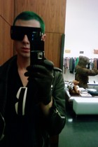 black Marc Jacobs sunglasses - vintage jacket - black by me shirt - black H&M gl