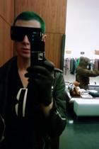 black Marc Jacobs sunglasses - vintage jacket - black by me shirt - black H&M gl