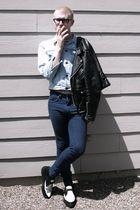 black D&G glasses - black via Goodwill jacket - blue vintage LIZWEAR jacket - si