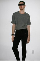 gray H&M sweater - silver Shotwell bracelet - black H&M pants - black H&M sungla