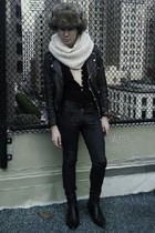 brown via BangOn hat - white old H&M scarf - black American Apparel shirt - blac