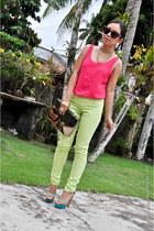 hot pink custom made blouse - dark brown Korean bag