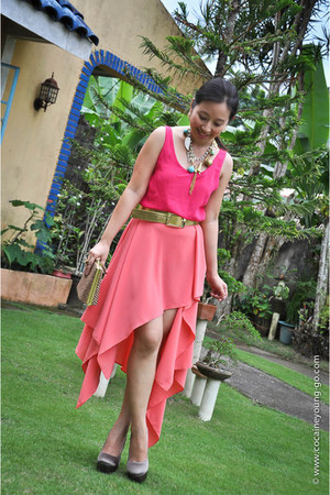 high low skirt DIY skirt - sheer pink top Customized blouse