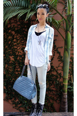 white tank top Zara top - booties alaia shoes - denim shirt Guess shirt