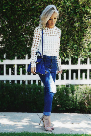 white ASILIO see link for similar style top - navy StyleMoi jeans