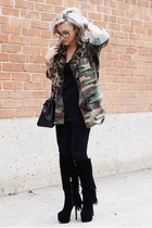 black Christian Louboutin boots - forest green luke vicious jacket