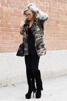 black Christian Louboutin boots - forest green luke vicious jacket