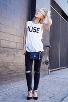 black Jimmy Choo shoes - black Topshop jeans - black Chanel bag