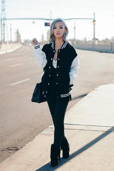 black boots - black jeans - black jacket - white top - black t-shirt