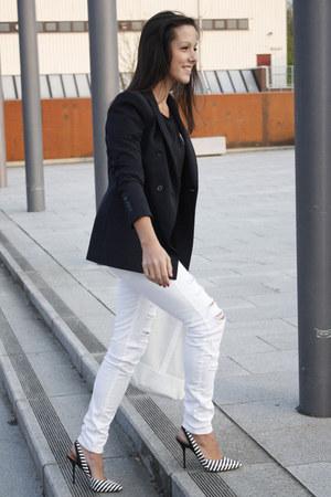 black Zara shirt - ivory Mango jeans - navy Zara blazer