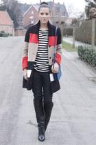 black Zara boots - black jaeger coat - black Zara jeans - black Zara sweater