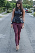 black Zara top - magenta Zara pants - black Romwecom necklace - black Zara pumps