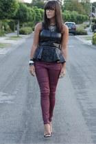 black Zara top - magenta Zara pants - black Romwecom necklace - black Zara pumps