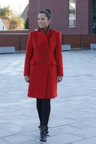 red Zara coat - black Zara boots