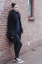 black Zara pants - navy Zara coat - navy Mango sweater - black Converse sneakers
