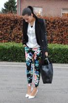 eea672d3660 ivory H M blouse - black romwe coat - black romwe bag - navy H M Trend pants