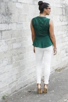 green Zara necklace - white Zara pants - green Zara blouse