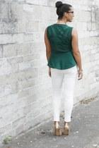 green Zara necklace - white Zara pants - green Zara blouse