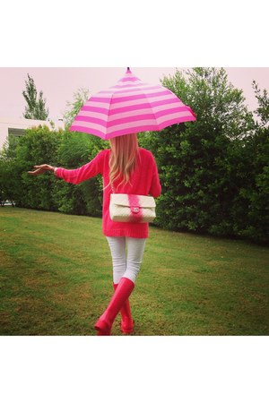 hot pink Louis Vuitton boots - hot pink gillyhicks sweater - hot pink Chanel bag