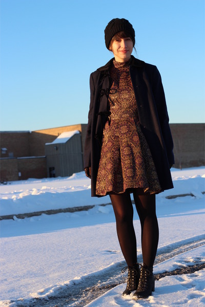 black Steve Madden boots - bronze Boutique Onze dress - navy Topshop coat
