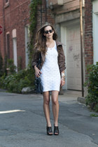 white lace banana republic dress - light brown parka Forever 21 jacket