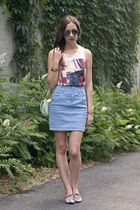 white H&M top - sky blue H&M skirt